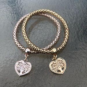 Jewelry - NWOT Rose Gold/Gold Heart Tree Bracelet Set